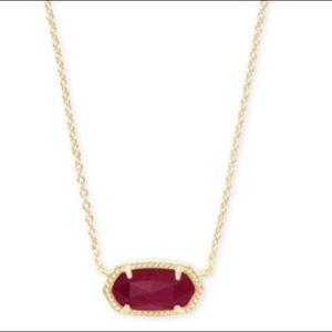 🆕Elisa Gold Pendant Necklace In Maroon Jade